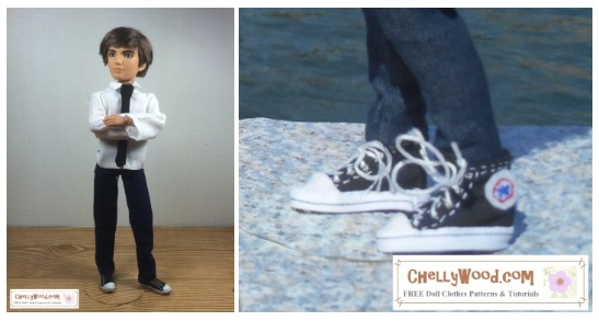 """The image shows a Spin Master Jake doll from the Liv doll collection wearing handmade jeans, a collared shirt, and a tie. There's also an attached image of handmade sneakers that closely resemble Converse High Top tennis shoes. The watermark says, """"ChellyWood.com: free doll clothes patterns and more."""""""