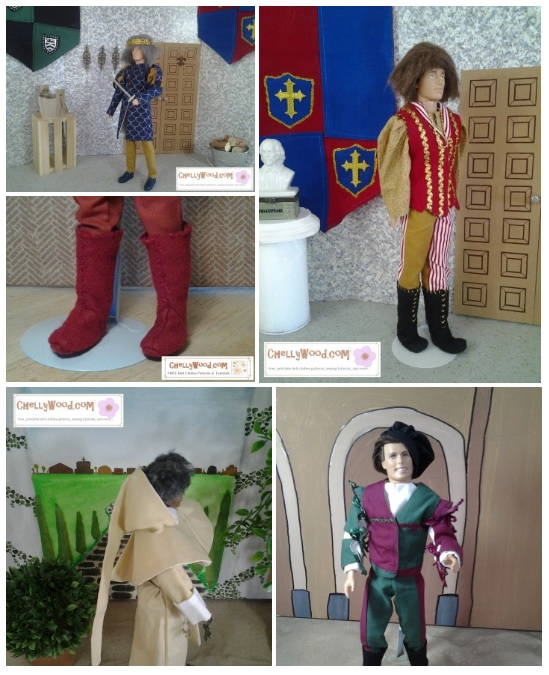 "This ""gallery"" style image shows Ken dolls wearing four different historical costumes. In the upper right corner, a Ken doll wears a regal Navy colored tunic with puff sleeves and trousers. He holds a sword. In the upper right corner, a Ken doll wears a medieval wig, a long-sleeve tunic, a gold-embellished vest, and bi-colored pants with felt boots. In the lower left corner, a Ken doll is dressed in a monk's hood and garb. In the lower right, a Ken doll wears a muffin cap, blousen shirt, vest, bi-colored pants, and he has greave-style sleeves that tie with ribbons. All of these patterns are free and printable at ChellyWood.com for anyone who has an inclination to sew these doll clothes. Each of Chelly Wood's free patterns comes with a tutorial showing you how to make it."