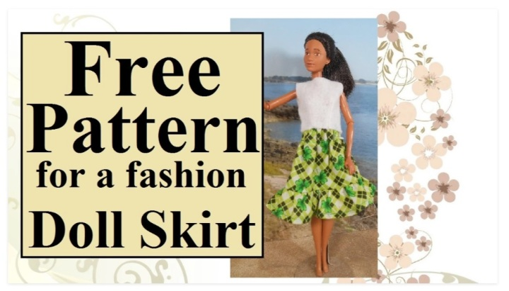 """The image shows a Mattel Barbie doll modeling a calf-length skirt with an old-fashioned ruffle at the base of the skirt. The material this skirt was made with is a green plaid with shamrocks in a floral pattern across the plaid pattern. There's a header that says, """"Free pattern for a fashion doll skirt,"""" and this image comes from ChellyWood.com, a website where you can find dozens of free, printable sewing patterns to fit dolls of many shapes and sizes."""