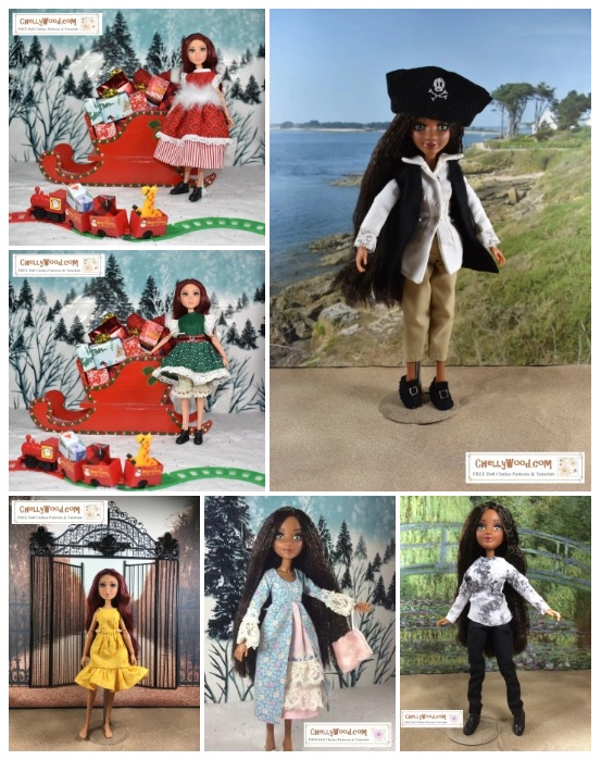 """The image shows two different Project MC2 dolls: Bryden Bandweth doll and the Camryn Coyle doll. In the winter-scene diorama, the Camryn Coyle doll stands before a Christmas sleigh full of tiny presents. In front of her is a tiny train running on a train track. She wears boots beneath her outfits. There are two of these holiday dioramas, and in the top one (upper left-hand corner), she wears a red holiday dress adorned with wispy fur and lace. It's a red dress with a candy-cane red and white striped petticoat. In the bottom winter scene, the Camryn Coyle doll wears a green holiday dress with a ribbon belt that looks like a Santa belt. Beneath this green floral-print dress skirt, she wears eyelet bloomers. In the bottom right corner, there's a garden-style diorama with a sandy ground. The Cameron Coyle doll models a yellow summer top and easy-sew summer skirt with a ruffle. She stands barefoot in the sand with a lovely wrought iron curly-patterned metal gate behind her. In the upper-right-hand corner, we find the Bryden Bandweth doll in a pirate suit, on a beach, with sand at her feet and a beach behind her. She wears a felt tricorne hat with a skull an crossed bones embroidered on it. She also wears Colonial style shirt, vest, and 3/4 length pants. She has a pair of colonial felt boots with buckles on her feet. In the lower right-hand corner is a different garden scene with flowers and a bridge. (It's actually a duplicate of Monet's Green Bridge painting--the one that's on display at the Orsay museum in Paris, France.) Braden Bandwidth wears a floral long-sleeve top and trousers. In the bottom center is another winter scene (without the Christmas sleigh) and in this scene, Brayden Bandwith wears a fancy floral dress with a silk purse. The dress has a lace petticoat and lace sleeves. All of these images are marked with the ChellyWood.com watermark which states """"Free printable sewing patterns and more."""" In face, all of these outfits come with free printable sewing pat"""