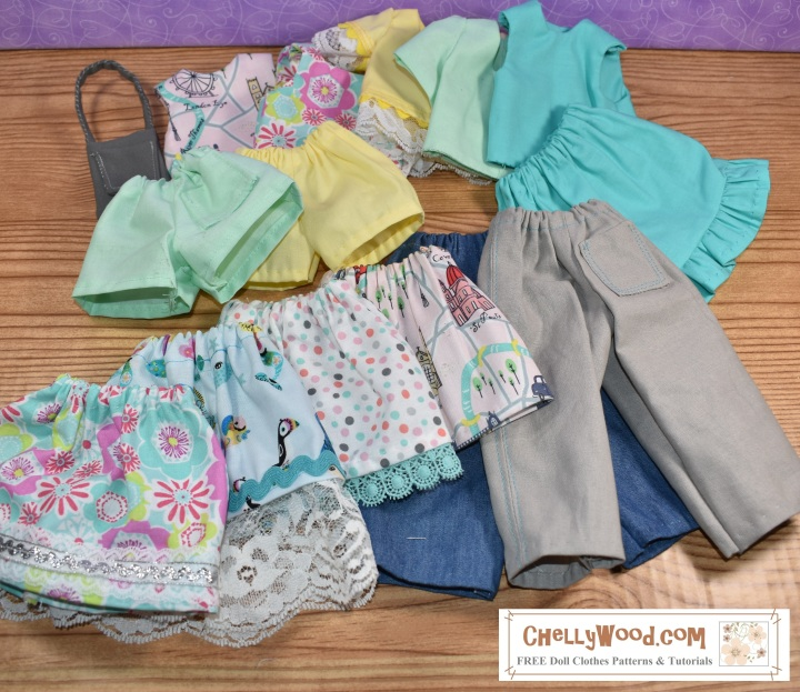This image shows a wardrobe of many clothing items to fit Wellie Wishers, Hearts4Hearts Girls, Crissy dolls, BFF Ink dolls, and many other dolls in the 13- to 17- inch size range. Included in the wardrobe are the following doll clothes items shown in pastel colors: a pair of shorts with a pocket, a pair of shorts without a pocket, a purse, a tank top with round neck, a tank top with V-neck, a lace-sleeve shirt, a short-sleeve shirt, a skirt with handmade ruffle, a skirt with lace ruffle, a skirt with lace ruffle and rickrack, a skirt with a floral embellishment, and a skirt made of London-print fabric in pink (showing the Tower of Big Ben, London Bridge, Brittish bobbies, and more), a pair of jeans without a pocket, and a pair of khaki pants with a pocket. All patterns and tutorial videos showing how to make these outfits are provided for free at ChellyWood.com.