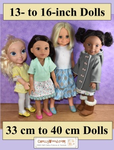 The image shows a 13-inch Disney Animators doll, a 14-inch Hearts4Hearts Girls doll, a 15-inch Wellie Wishers doll, and a 16-inch vintage Velvet doll from the Crissy line of dolls from Ideal Toy Corp. This image offers links to free printable patterns for dolls in these size ranges. All free printable patterns can be found at ChellyWood.com and for each printable sewing pattern for these doll clothes, you will find tutorial videos showing how to make doll clothes for these dolls and any dolls in a similar size range.