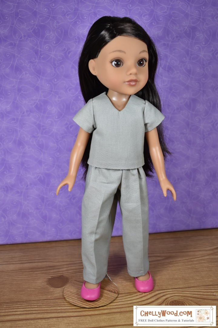 "The image shows Hearts for Hearts Girls (Consuelo) wearing handmade doll clothes: a short sleeve shirt with V-neck and a pair of cotton pants. The FREE printable pdf sewing pattern for this outfit is found at ChellyWood.com, where you can find lots of free printable sewing patterns for dolls of many shapes and sizes. There's also a tutorial video showing how to make both the shirt and the pants. Patterns are free with a ""creative commons attribution"" mark on them, which means you can use these patterns and post them, but you need to tell people where you got your free pattern."