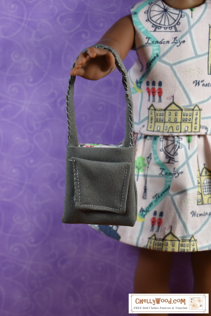 The image shows a Wellie Wisher doll holding up a purse that has been hand-sewn. The purse has a pocket in one side, and its lining uses fabric that matches the cute skirt and top that the Wellie Wisher doll wears in the image. The overlay offers the website, ChellyWood.com, where you can find free, printable sewing patterns to fit dolls of many shapes and sizes, including this very outfit that is being modeled by the Wellie Wisher.