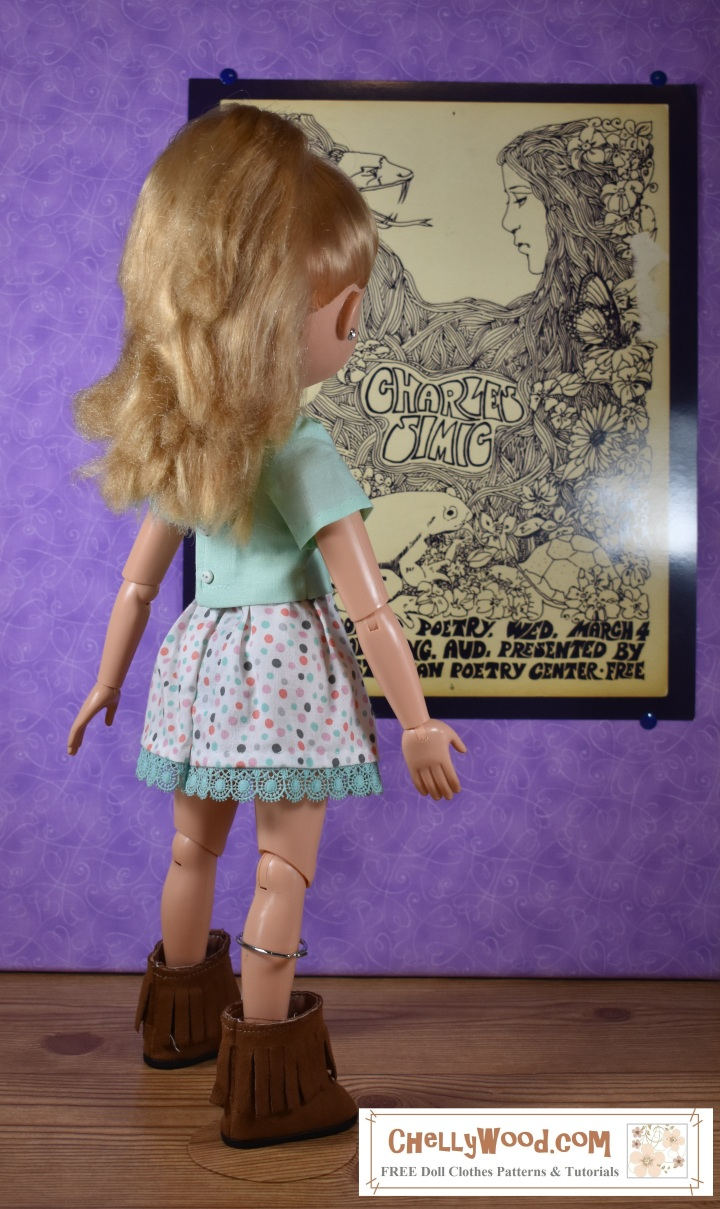 The image shows a BFC Ink doll standing in front of a 1970's style poster. She wears handmade clothes including fringe boots, a spotty skirt with crocheted lace, and a short-sleeved top. The overlay suggests that the website ChellyWood.com offers free printable sewing patterns for clothes to fit dolls including this one and others.