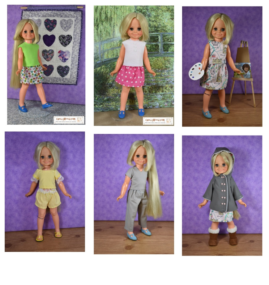 The image shows the Ideal Toy Corporation's vintage Velvet doll wearing six different outfits. For each outfit, ChellyWood.com offers free printable sewing patterns and tutorials showing you how to sew the outfit. Visit ChellyWood.com for lots of free printable sewing patterns for dolls of many shapes and sizes, including the Velvet doll from the Crissy family of dolls.