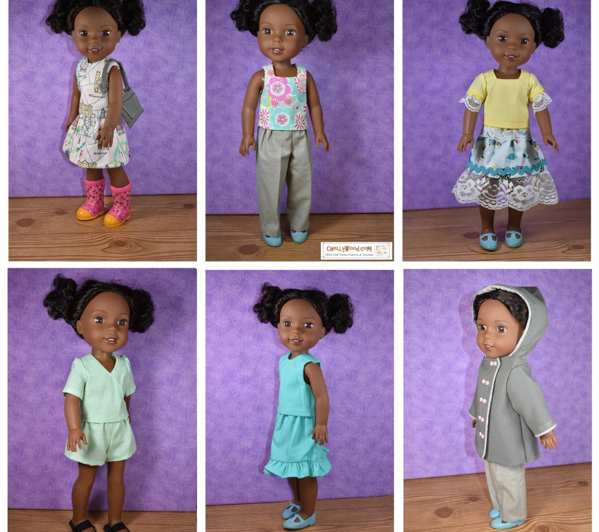 The image shows a Wellie Wisher doll modeling six different outfits. All six outfits have free printable sewing patterns for download in PDF format. The outfits include a summer top and skirt combo, a pair of pants with square neck tank top, a lace skirt with lace short sleeve shrit, a pair of shorts with matching summer top, a ruffled skirt with sleeveless blouse, and a raincoat with jeans or pants. Each of these has a free printable pdf pattern at ChellyWood.com along with free tutorial videos giving instructions for how to sew the dolls clothes.