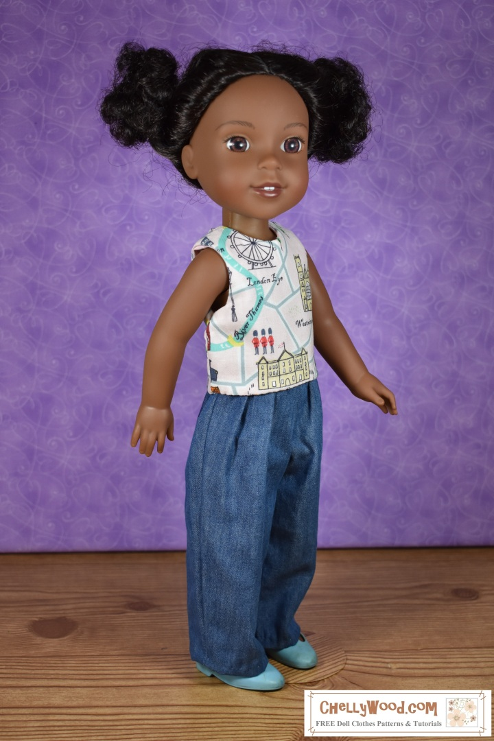 """The image shows a Wellie Wisher doll (Kendall from American Girl) wearing a handmade sleeveless shirt and handmade jeans. Her plastic shoes are MaryJanes. At the bottom of the image, there's a URL for the website where you can print the free pattern for making this entire outfit: ChellyWood.com. The Chelly Wood website's motto is """"free doll clothes patterns and tutorials for dolls of many shapes and sizes."""" Patterns are offered as a PDF download and a MS Word document, for easy printing."""