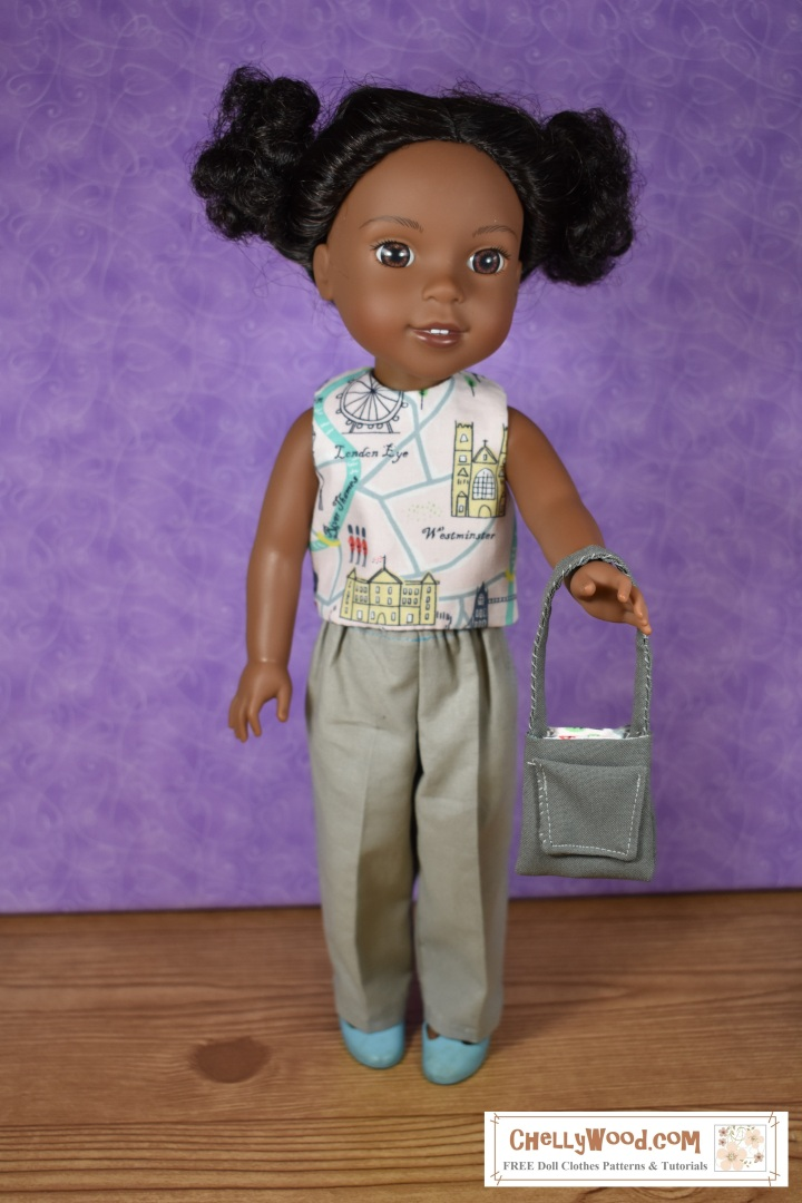 """The image shows a Wellie Wisher doll (Kendall from American Girl) wearing a handmade round-neck sleeveless reversible top and khaki pants. She holds a handmade purse with a pocket. At the bottom of the image, there's a URL for the website where you can print the free pattern for making this entire outfit: ChellyWood.com. The Chelly Wood website's motto is """"free doll clothes patterns and tutorials for dolls of many shapes and sizes."""" Patterns are offered as a PDF download and a MS Word document, for easy printing."""