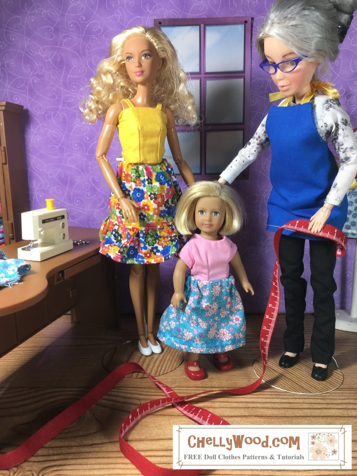 This image shows the Chelly Wood doll holding a tape measure next to the 6 inch Mini American Girl doll. Beside these two is a blond haired, tan-bodied made-to-move Barbie doll. All three dolls wear handmade doll clothes. They appear to be standing in a tiny sewing room, complete with a desk, a sewing machine, and other sewing-related furnishings. It looks like the dolls are about to use the tiny tape measure to take measurements of the little American Girl 6 inch doll, for a sewing project. This image accompanies a blog post for hashtag tape measure Tuesday in which we learn the specific measurements for the 6 inch American girl doll mini. The blog post for measuring a 6 inch doll is found at ChellyWood.com, and this watermark appears on the photograph of these dolls.