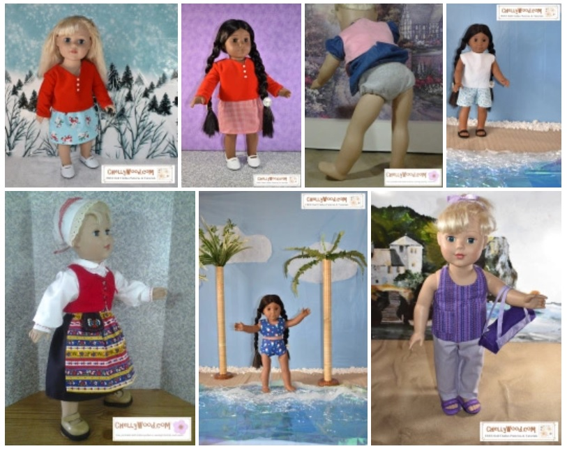 The image shows a Madame Alexander 18 inch doll and an American Girl 18 inch doll posing in handmade doll clothes including a swimsuit, tank top, pants, shorts, a skirt, a velvet top with long sleeves, a felt top with no sleeves, and a traditional Swedish folk costume. Each of these outfits has free printable sewing patterns available for download at ChellyWood.com where you can find free patterns for dolls of many shapes and sizes.