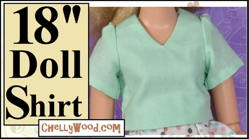 "The image shows a BFC Ink (Best Friends Club Ink) doll wearing a handmade lime-sherbert-colored shoulder-length-sleeved shirt with a V-neck and the overlay says ""18 inch doll shirt"" with the URL ChellyWood.com (a website where you can locate the free printable sewing pattern for this and many other free 18 inch doll clothes sewing patterns."