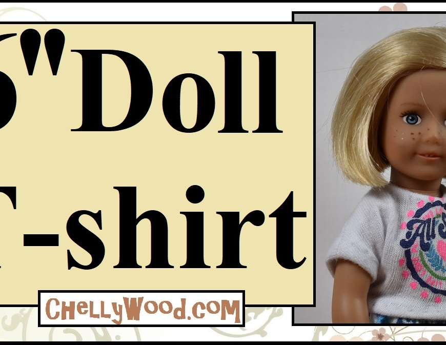 "The image shows a Kit Kittredge 6 inch American Girl doll (AG dolls) wearing a handmade T-shirt. The overlay says 6"" doll t-shirt and offers the URL ChellyWood.com where you can find free printable sewing patterns to fit the 6-inch AG doll and many other dols of different shapes and sizes. This image is a youtube video header, and in the video, Chelly Wood shows you how to hand-stitch this tiny tee shirt for little American Girl Mini dolls."