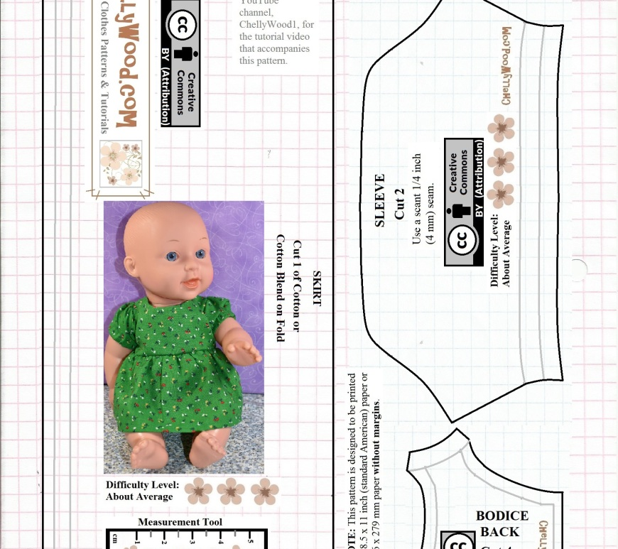 On the page where you find this image, there's a similar PDF downloadable printable free sewing pattern for making a baby doll dress. This image shows what pattern pieces are in the PDF, and it includes the dress bodice, sleeve, and skirt. The PDF also includes free printable sewing patterns for making a baby doll's diaper, plus the rest of the bodice. These and other free printable sewing patterns for making a baby doll's dress are available at ChellyWood.com
