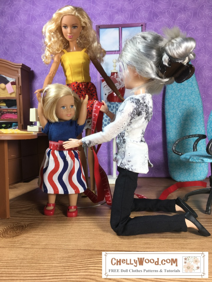 """In this photo, the Chelly Wood sewist doll kneels beside a 6-inch American Girl doll, using a tiny tape measure to take measurements for the little 6"""" AG doll's waist. In the background a Made-to-Move Barbie holds the little 6 inch American Girl doll's hand while her sewing measurements are taken. This illustration accompanies a blog post on ChellyWood.com that offers the actual sewing measurements for both the Barbie doll and the mini American Girl doll. The website where you can find the original image is ChellyWood.com, offering free, printable PDF patterns for dolls of many shapes and sizes."""