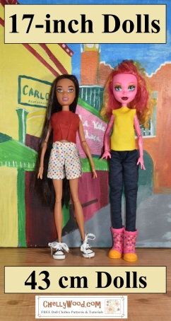"Click here for all the free patterns and tutorials you'll need to make clothes for 17"" fashion dolls: https://wp.me/P1LmCj-Gek"