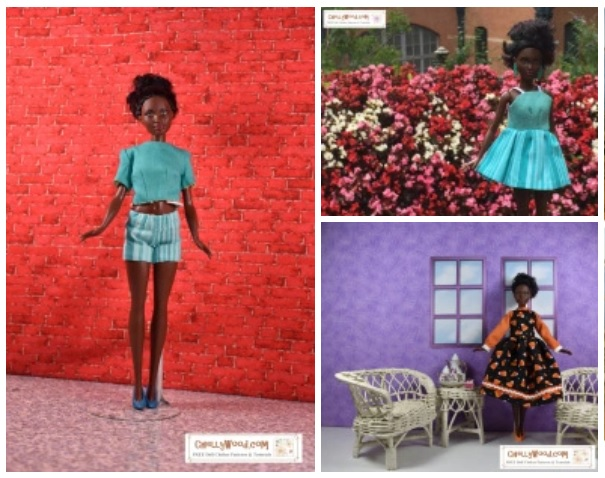 This shows a screenshot of a portion of the gallery page, where you can click on images of Petite Barbie modeling the outfits designed by doll clothing designer Chelly Wood, whose website offers hundreds of free printable sewing patterns for dolls of many shapes and sizes, including free doll clothes patterns for Petite Barbies (from the Fashionista line of barbie dolls). In this image, we see Petite Barbie wearing a pair of shorts, a reversible crop top shirt, a dress with mini skirt, and a formal dress trimmed in ribbon and rickrack. These and other patterns are free on ChellyWood.com.