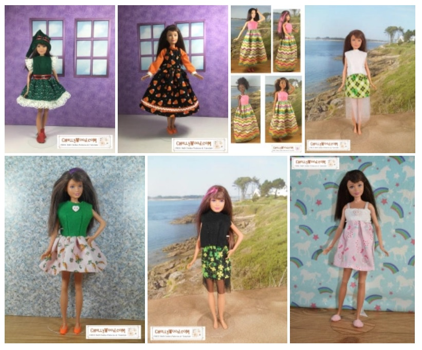 This gallery image shows all the Free Printable Sewing Patterns for Skipper Doll Clothes (10 inch Dolls or 25 cm Dolls) found at ChellyWood.com a website that specializes in offering free printable sewing patterns to fit dolls of many shapes and sizes.