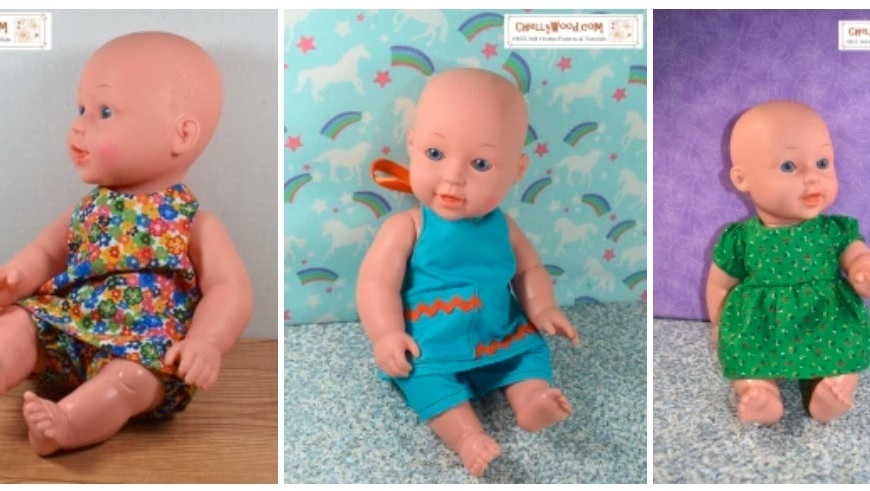 This image shows a gallery of various doll clothes outfits that fit 12-inch Baby dolls. The photos represent the free printable sewing patterns available at ChellyWood.com (a website that offers lots of free printable doll clothes patterns for dolls of many shapes and sizes).