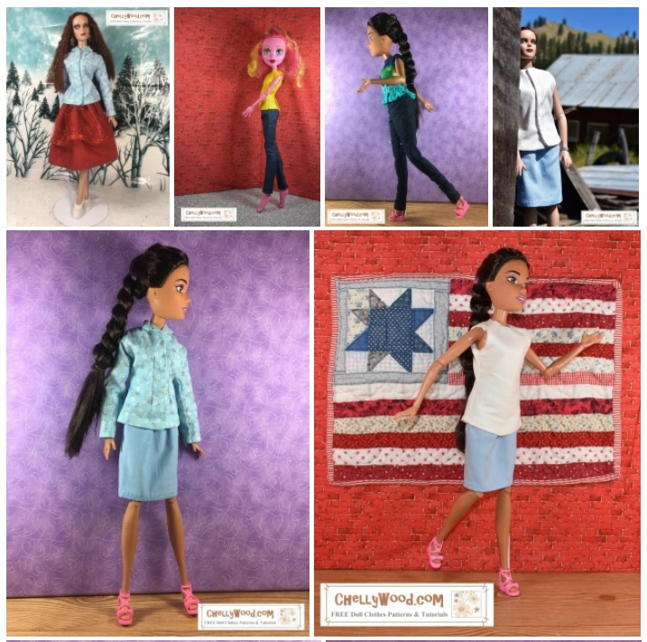 "This screenshot shows a gallery of images of the 17"" Endless Hair Kingdom Princess Barbie, the Monster High 17-inch Gooliope doll, and a 17 in Tonner doll all modeling handmade doll clothes. If you click through to this gallery, it offers free printable sewing patterns and tutorials for making each of the outfits pictured here plus more. Patterns were designed by Chelly Wood and are available using the Creative Commons Attribution symbol."