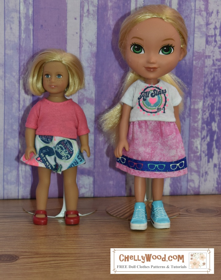"""This picture shows the 6-inch American Girl doll standing next to an """"Alanna / Alana"""" doll from the Dora and Friends doll collection. The photograph accompanies a page which offers measurements for both the American Girl 6"""" doll and the 8"""" Dora the Explorer doll. These measurements are used for sewing purposes."""