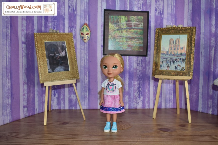 This photo shows Alana, one of the Dora and Friends dolls, wearing a handmade T-shirt and skirt. The free printable sewing patterns are found in PDF download format at ChellyWood.com, along with free tutorial videos showing how to make these doll clothes.