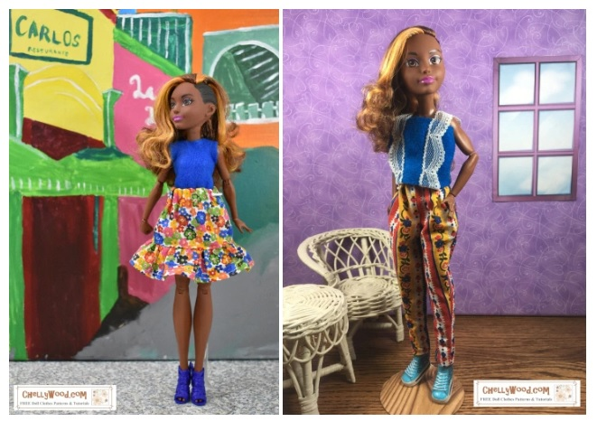 The image shows the DC Super Hero Girl named Bumblebee modeling handmade doll clothes, including a skirt with ruffle, a pair of pants, a tank top, and a sleeveless shirt. Free printable sewing patterns for making each of these doll clothing items can be found at ChellyWood.com under 12 inch doll clothes patterns.