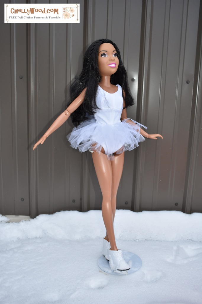 Here we see an image of the 28 inch Best Fashion Friend Barbie doll wearing the swimsuit designed by Chelly Wood, but she also wears a tulle tutu over the swimsuit, transforming the swimming suit into a leotard for ice skating. In this photo, the giant Barbie doll wears a pair of ice skates, and she appears to be in an ice skating rink. The watermark tells where you can get free printable sewing patterns and watch tutorial videos showing you how to make doll clothes for 28 inch Barbies: ChellyWood.com