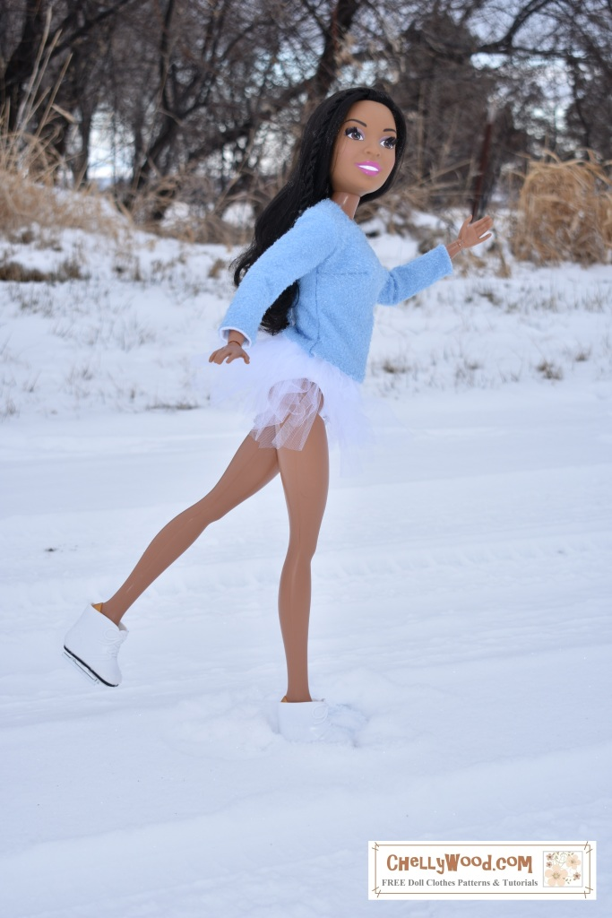 """The image shows Mattel's 28 inch Barbie doll wearing ice skates, a figure skater's leotard (swimsuit) and tutu with a handmade sweater. The huge Barbie doll waves as she skates by, smiling at the viewer. She seeks to be kicking one foot up, gliding along gracefully on the snow in an outdoor skating rink. If you'd like to sew this outfit for a 28"""" doll like the 28"""" barbie, please go to ChellyWood.com where you can find free patterns and tutorial videos for sewing these doll clothes."""