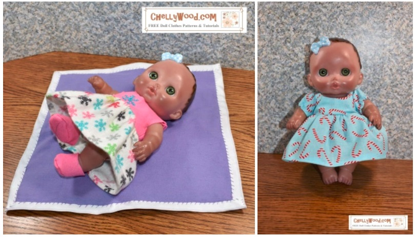 "The images here show a preview of the outfits you can make when sewing doll clothes for 8"" baby dolls like the Lil cutesies dolls from JC toys, using the free printable sewing patterns provided by ChellyWood.com"