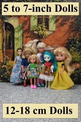Here we see a photo of very small dolls, all wearing handmade doll clothes using the free printable sewing patterns found at ChellyWood.com. The photograph includes the following dolls, pictured from left to right: 6-inch Breyer Rider dolls, a 6-inch American Girl Mini doll, a 5-inch Chelsea doll, a 7-inch vintage Stacie doll, a 6-inch Enchantimals doll, and a 6-inch or 7-inch Strawberry Shortcake doll. Free printable sewing patterns can be downloaded for each of these dolls at ChellyWood.com, and the caption below this image includes a link to the directory page which lists each of these dolls with links to their pattern pages.