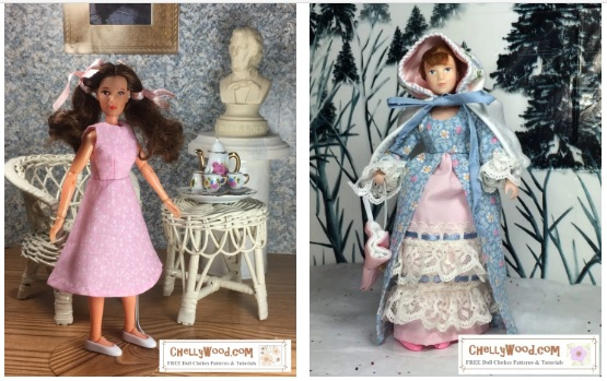 "The image shows a Mego Wizard of Oz Dorothy doll and a Breyer rider figure doll modeling two different outfits. If you go to the page where this directory is found, it will link you to various free printable sewing patterns to fit 8"" dolls like the Mego action figures and Wizard of Oz dolls."