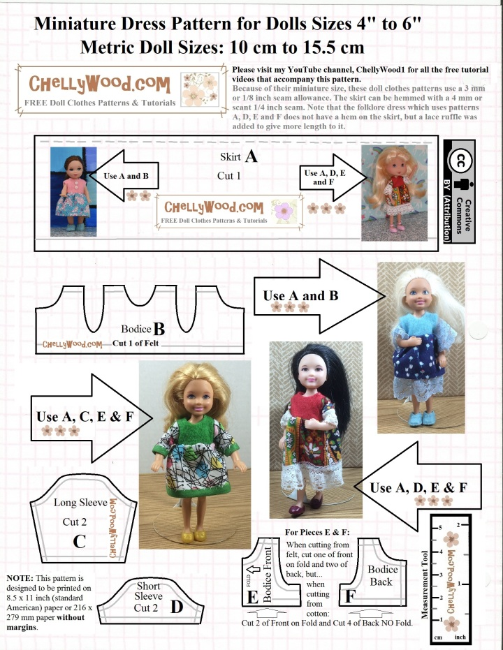 This is a free printable sewing pattern for dresses that fit various 4-inch to 7-inch dolls, such as Mattel's Kelsey dolls, Mattel's Chelsea dolls, Polly Pocket dolls, and Strawberry Shortcake dolls, among others.