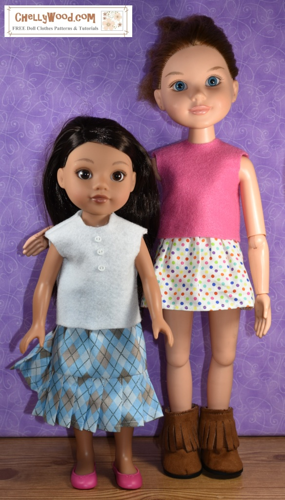 This image and another on the same blog post prove that Hearts for Hearts girls and BFC Ink dolls, though they're different heights, can swap clothes to some extent. In this image, we see the Hearts for Hearts doll Consuelo, wearing the same white felt top and knife pleated plaid skirt that the BFC Ink doll wore in the image at the top of the page. The BFC Ink doll wears the same pink felt top and polka dot skirt that the Hearts for Hearts Girl doll wore in the previous image. However the polka dot skirt fits the BFC Ink doll as a mini-skirt, and the plaid knife-pleated skirt fits the shorter doll (the H4H doll) as a calf-length skirt. This image is watermarked with ChellyWood.com and is part of our hastag tape measure Tuesday sequence of blog posts, chronicling the sewing measurements of various dolls for sewing purposes.
