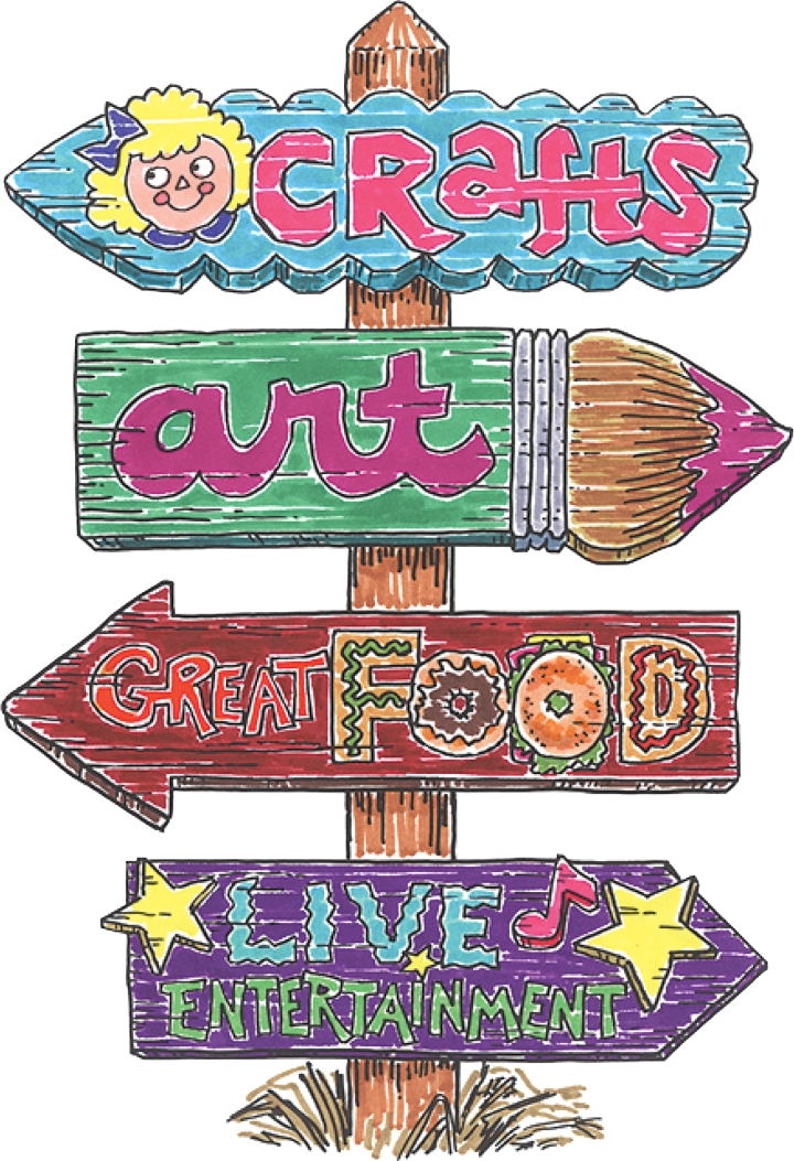 The image shows a cartoon like drawing of a sign for attending a craft fair.