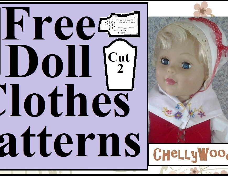 "The image shows an 18 inch doll modeling handmade doll clothes in the style of the Thanksgiving Pilgrims. The overlay says ""free doll clothes patterns"" and in fact, if you visit the website ChellyWood.com, you'll find hundreds of free printable PDF sewing patterns for making doll clothes that fit dolls of many shapes and sizes."