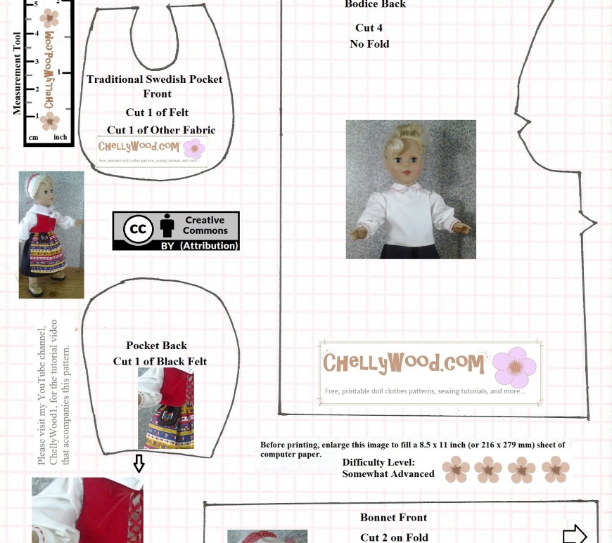 "This is the JPG image of a free printable doll clothes pattern to fit 18 inch dolls. Specifically, this is the Swedish ""pocket"" style of purse or bag worn by women of Dalarna Sweden in the 1600's and 1700's. This is part of a doll clothes ensemble of traditional Swedish costumes for 18 inch dolls."