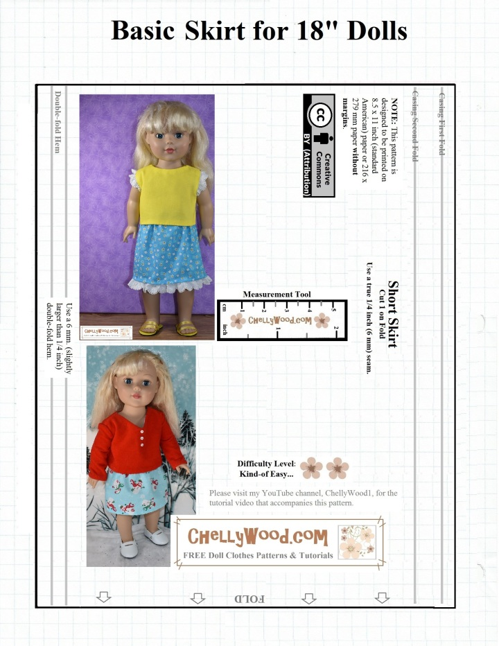 "This is a JPG image of a skirt pattern that can be downloaded free as a PDF doll clothes sewing pattern at ChellyWood.com (a free doll clothes patterns website). Feel free to share this image on social media, to let people know where they can find free printable doll clothes sewing patterns online, to fit their 18"" dolls."