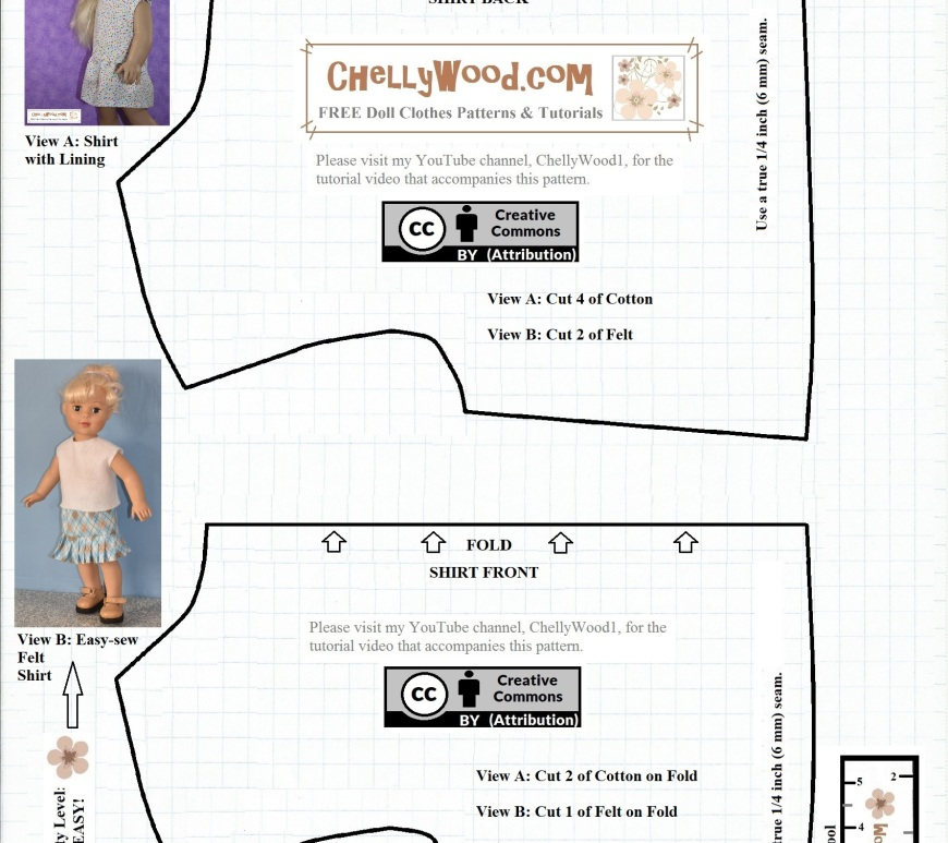 The image shows the free doll clothes pattern for making a sleeveless shirt using cotton or felt. On the pattern it includes the creative commons attribution mark, and if you go to ChellyWood.com, you can download this pattern and many others for free as a PDF download pattern.