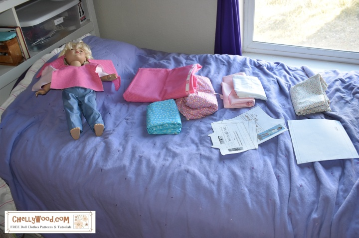 Image shows 18 inch doll clothes sewing project (s) in progress. Please visit ChellyWood.com for free printable sewing patterns for dolls of many shapes and sizes.