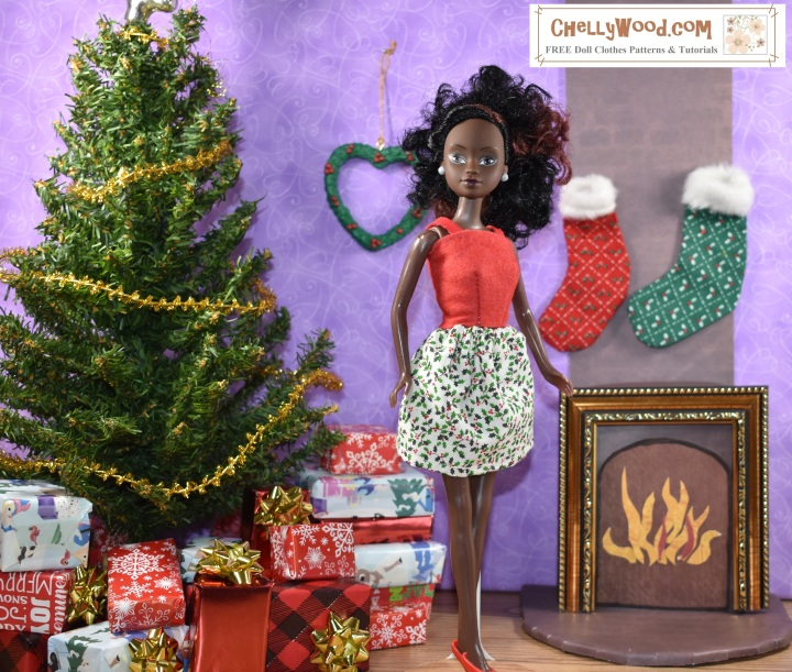 The image shows Azeezah, from the Queens of Africa dolls, wearing a handmade skirt and felt shirt. To make this outfit, using the free patterns and tutorial video instructions that go with the patterns, click on the link in the caption.
