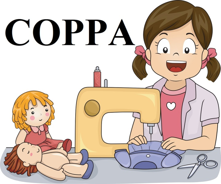 """The image is a cartoon drawing of a little girl sitting at a sewing machine, making doll clothes. Beside the sewing machine are two dolls: one is not wearing doll clothes and the other is fully dressed. The text on the image says """"COPPA"""" which stands for the """"Children's Online Privacy Protection Act."""" This image comes from ChellyWood.com, a website that offers free printable sewing patterns for doll clothes that fit dolls of many shapes and sizes."""