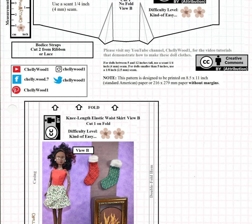 This is the JPG image of a free printable PDF sewing pattern for making 11 inch fashion doll clothes. You can download the free PDF sewing patterns at ChellyWood.com (a website dedicated to providing free printable doll clothes patterns for dolls of many shapes and sizes).