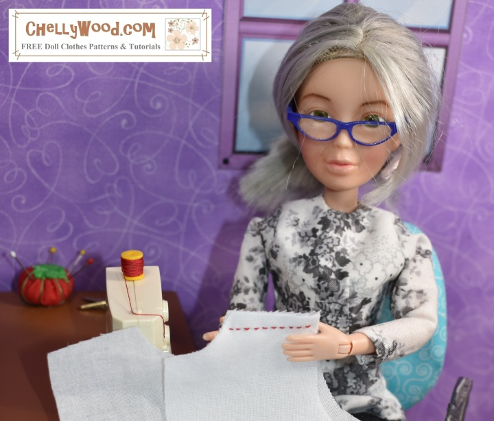 The image shows the Chelly Wood doll from ChellyWood.com holding up a garment and displaying a red seam on white fabric as she sits at her 1:6 scale sewing machine to make doll clothes. Please visit ChellyWood.com for your free printable PDF sewing patterns and tutorials that show you how to make doll clothes to fit dolls of many shapes and all different sizes.