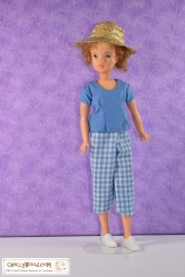 Click on the link in the caption for all the patterns and tutorial videos you'll need to make this outfit for your Tammy doll. The image shows a Tammy Doll (made by Ideal Toy Corp. in the 1960s) wearing handmade gingham capris and a cotton short-sleeved shirt. Her straw hat adds character to the ensemble, as do her white sneakers, but the pattern and tutorials will only be for making the capri pants and shirt. To find these free PDF sewing patterns, please go to ChellyWood.com (shown as a watermark on the image).