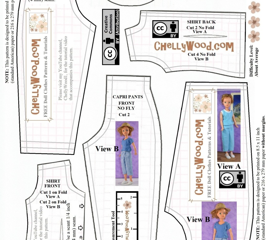 "The image shows a visual version of a free printable PDF sewing pattern for making doll clothes to fit the 1960s version of the vintage Ideal Toy Corp Tammy doll. The pattern includes capri pants and a top / shirt which can be sewn sleeveless or made with short sleeves. The pattern has a ""creative commons attribution"" mark on it, so if you download the free printable PDF sewing pattern for these doll clothes (found at ChellyWood.com), please show your appreciation by sharing this JPG version of the pattern with your friends, family, and social media followers."