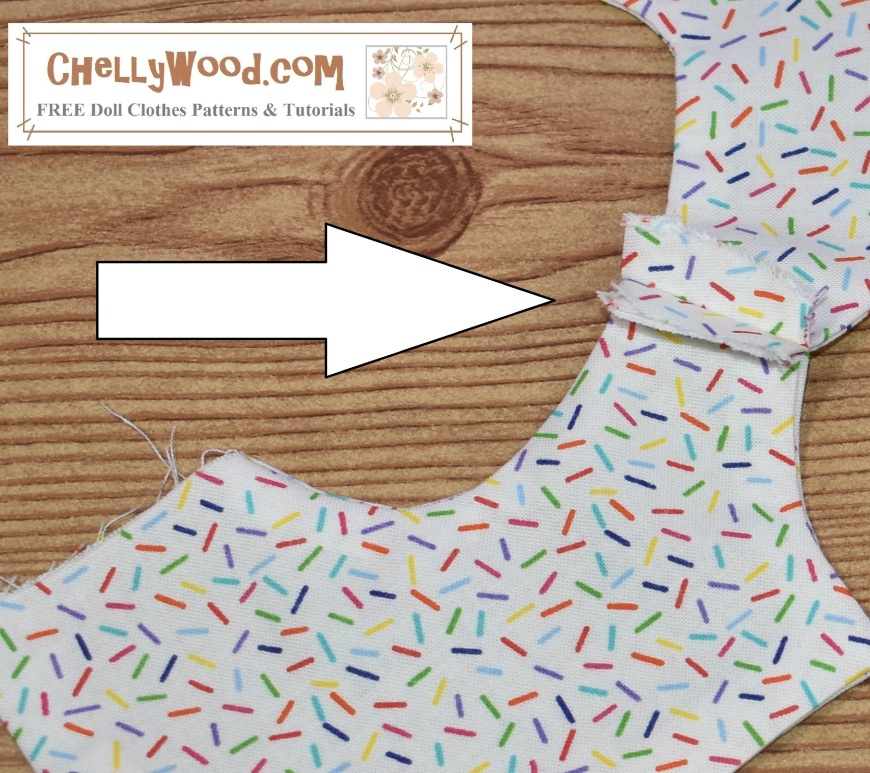 "Visit ChellyWood.com for free printable sewing patterns for making doll clothes that fit dolls of many shapes and sizes. This image is used in a blog post that answers the question, ""What is a seam allowance used for?"" The image shows the seam at the shoulder of a doll's shirt from the underside of the garment."