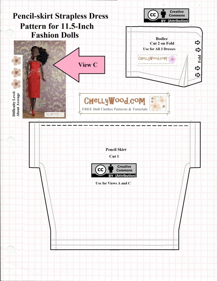 This is the JPG image of a PDF sewing pattern that's available at ChellyWood.com as a free downloadable doll clothes sewing pattern to fit dolls in the 11-inch to 11.5-inch size range (28 to 29 cm). This is a pattern for sewing a pencil skirt dress with a simple bodice. The image shows three flowers on the difficulty scale for this website's patterns, for making the pencil skirt dress.