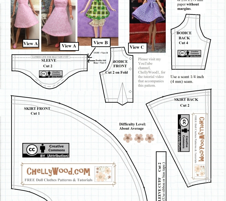 "The image shows an A-line dress pattern designed by ChellyWood.com which shows three different dolls modeling the handmade doll dress. A 9-inch Mattel Stacie doll is shown wearing a handmade sleeveless version of the A-line dress. A 10"" Disney Princess (Merida) doll is shown wearing a hand-made version of the A-line dress which has cuffs and puff sleeves. A Monster High / Ever After High doll is shown wearing a flutter-sleeve A-line dress. All three of these styles use the patterns provided on this pattern page. You can download the free printable PDF sewing pattern for making this dolls' dress (and many other doll clothes) at ChellyWood.com -- and the patterns are all FREE."