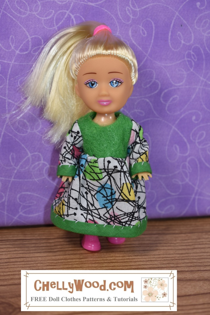 The image shows a platinum blond Greenbrier doll that stands 4 inches high wearing a handmade Easter dress. The dress was made using a free printable PDF doll clothes sewing pattern which you can download at ChellyWood.com